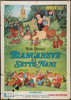 Biancaneve e i sette nani, quarta edizione italiana, distr. Walt Disney Cartoons, Disney Movie Posters, Cartoon Posters, Disney Films, Vintage Cartoon, Vintage Disney, Jim Henson, Disney Italia, America Movie