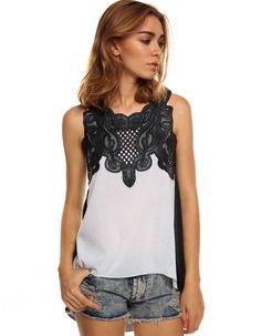 New Women/'s Sleeveless Shirt Blouse Top w Lace Studs Decoration Black S M L