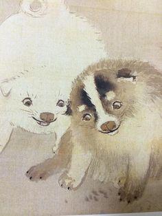 円山応挙 Okyo Maruyama はてさて、円山応挙の絵と長沢芦雪の絵は、よく似ている。長沢芦雪は円山応挙の弟子にあたり、どちらも子犬の絵を好んで描いている。今、可愛い絵が注目されており、江戸期の日本画には、可愛い絵が意外に多い印象だ。 Japanese Chin, Traditional Paintings, Japanese Artists, Woodblock Print, Mythical Creatures, Printmaking, Drawings, Illustration, Artwork