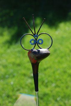 Golf driver poke recycled garden art stake