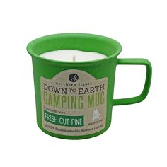 An ode to glamorous campers everywhere. Being 100% biodegradable and reusable, each mug is perfect for your next camping trip. #northernlightscandles #candles #mug #downtoearth #camping #camp #hiking #outdoors #reusable #biodegradable #glamping #summer #essentials