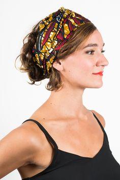 Bandeau à cheveux extra-large en tissu africain Wax Feuille rouge Foudre #headband #headwrap #headwear #africanprint #wax #africanwaxprint #madeinfrance #turban #turbanista  #bandeauacheveux #bandeau