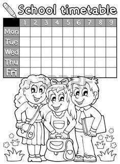 Coloring book school timetable 4 Stock Vector