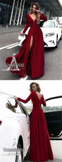 Sexy Rose Red Deep V-Neck Covered Button Side Slit Long Prom Dress, Prom Dress, VB0676 #promdress #promdresses