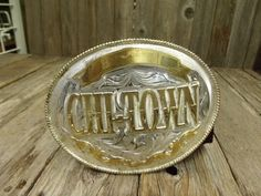 Chi Town Huge Western Belt Buckle Engraved by PoisonPuddingFaire, $38.95