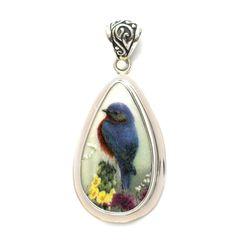 Broken China Jewelry Catherine McClung Bluebird Sterling Drop Pendant