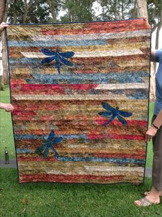 Jelly Roll Race quilt with dragonflies. No tutorial. Love how they joined strips on bias.