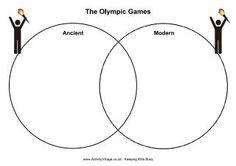 Olympics printables, including an Ancient/Modern Venn diagram. From Activity Village.