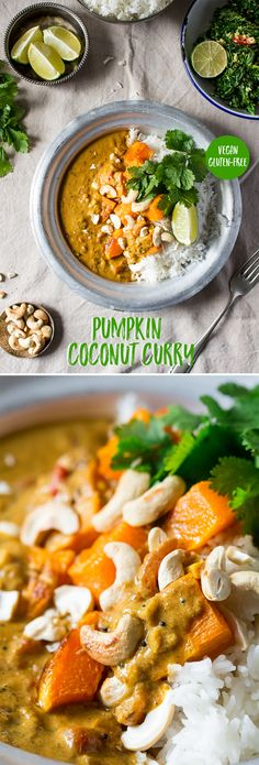 simple and quick pumpkin curry in a spicy and smooth coconut sauce. It makes a great healthy dinner and it's naturally vegan and gluten free too. Curry Recipes, Veggie Recipes, Indian Food Recipes, Asian Recipes, Vegetarian Recipes, Cooking Recipes, Healthy Recipes, Coconut Recipes, Vegetarian Cooking
