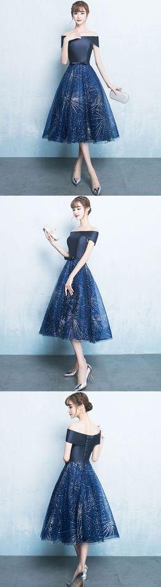 Blue A line off shoulder short prom dress, homecoming dress