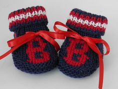 Andrew would love these :]  Boston Red Sox Super Fan MLB Booties Size 0 to 3 by BabywearbyBabs, $19.00