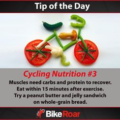 Tip of the Day: Cycling Nutrition #3: Muscles need carbs and protein to recover. Eat within 15 minutes after exercise. Try a peanut butter and jelly sandwich on whole-grain bread.  #BikeRoarTOD #cycling #nutrition #protein #carbs #postworkout #recovery