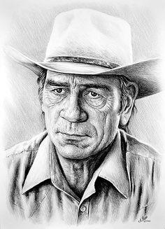 Tommy Lee Jones by Andrew Read Pencil Art, Pencil Drawings, Art Drawings, Realistic Drawings, Celebrity Drawings, Celebrity Portraits, Pencil Portrait, Portrait Art, Cartoon Drawings