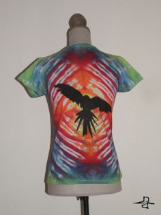 """""""Bird shadow in a rainbow"""" Unique Tie-Dye t-shirt, for women, made by FreedomFactory  Size M, 20 €  If you interested or more information don't hesitate contact with me! krecseva@gmail.com"""