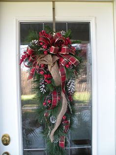 Burlap Teardrop Door Wreath, Burlap Swag, Garland, Red and Gold Ribbon, Pinecones, Berries, Christmas Wreath, Ready to ship Wreath on Etsy, $79.99