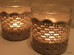 Crochet candle covers. Glasses from 'Søstrene Grene'.