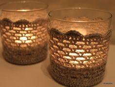 Crochet candle covers. Glasses from 'Søstrene Grene'.