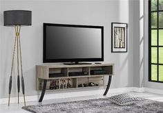 """Amazon.com: Altra Asher Wall Mounted 65"""" TV Stand, Sonoma Oak: Kitchen & Dining"""