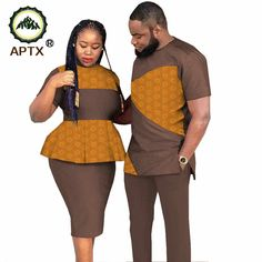 APTX couple suit jacquard fabric Men's top&pants suit + women dress couple clothes TS20C010| | - AliExpress Couples African Outfits, Couple Outfits, African Attire, Couple Clothes, African Dresses For Kids, Latest African Fashion Dresses, African Print Fashion, African Wear Styles For Men, African Clothing For Men