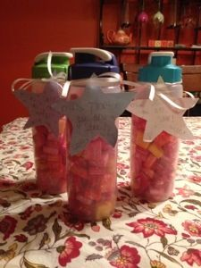 Violet's teacher, teacher's assistant and bus driver are getting these tomorrow as thank you gifts.   Super easy to make! Rubbermaid reusable drink cups sold in a pack of four for under $12, filled with Starburst candy.   I made a template of a star, Vi traced and cut them out and I helped her with the words. She loved doing this project!   She's 6 and has crafting in her code!  #school #teacher #gifts #craft #projects #kids #yumminess