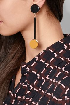 Marni | Gold-plated acrylic clip earrings