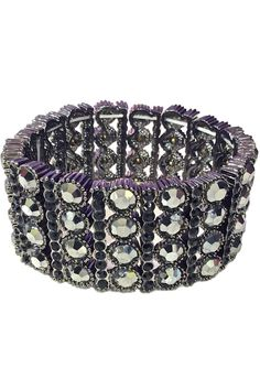 """Dress up any outfit this season with this great vintage inspire stretch metal bracelet with beautiful faux crystal in assorted colors. Features one vertical row of 4 large crystals alternate with one vertical row of 10 mini crystals.    Measures 1 1/4""""H   Stretch Jewel Bracelet by L'Imagine. Accessories - Jewelry - Bracelets Portland, Oregon"""