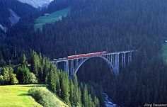 Langwies Viaduct - at the time it was built it was the longest railway bridge in the world; photo by Jörg Dauerer Chur, Show Photos, Bridges, Places To Visit, Swings, Architecture, Travel, Beautiful, Switzerland