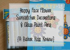 Flower Suncatcher Decorations - A Baker Ross Review. We LOVED decorating these using the glass paint pens! Such good fun, hehe.
