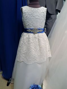 Lace flower girl with satin belt
