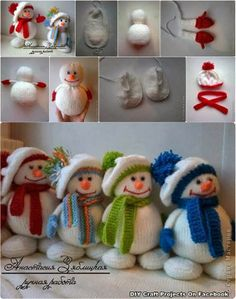 snowmen - put together this make a great door draft cover - or a fireplace cover when it's not in use