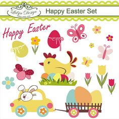 Description:  Lovely  Happy Easter Set  You can use them for: embroidery, scrabooking, card design, invitations, stickers,  paper crafts, web design  etc