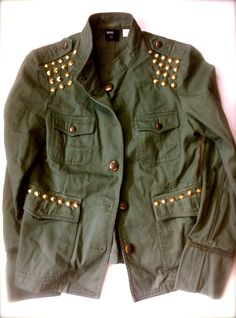 Womens Vintage Rock Military Jacket - Army Green with Gold ROCKER Cone Studs