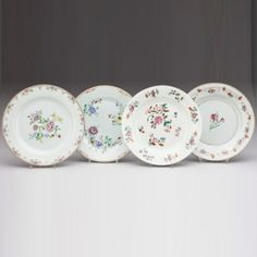 Set of Four Porcelain Plates with Flowers Qing Dynasty (SOLD)