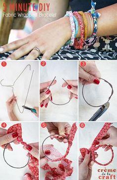 5 Minute DIY   Fabric Wrapped Bracelets