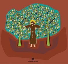 """Hilda Souto. Capa do livro """"São Francisco de Assis e seus primeiros companheiros"""" - Ilustrações Hilda Souto, textos de Patrizia Bergamaschi."""