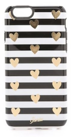 cute heart and striped iPhone case