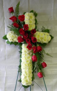Enchanted Florist Pasadena TX - Love and Honor Red Rose Funeral Cross. Funeral f. Church Flowers, Funeral Flowers, Wedding Flowers, Deco Floral, Arte Floral, Funeral Floral Arrangements, Flower Arrangements, Funeral Caskets, Casket Flowers
