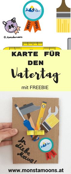 Cool card for Father's Day - Vatertag - Geschenke - Valentines Day Fathers Day Crafts, Valentine Day Crafts, Valentines, Toddler Crafts, Crafts For Kids, Father's Day Diy, Presents For Kids, Labor, Diy Décoration