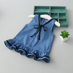 Girls' Clothing (Sizes 4 & Up) Toddler Kids Baby Girl Denim Bow Sleeveless Princess Dress Summer Preppy Dresses Baby Girl Dress Design, Girls Frock Design, Baby Girl Dress Patterns, Baby Clothes Patterns, Kids Dress Wear, Dresses Kids Girl, Little Girl Outfits, Kids Outfits, Newborn Outfits
