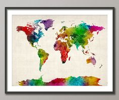 Watercolor Map of the World Map, Art Print, 18x24 inch, $24.75