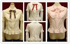 Long Sleeves Button Cotton Sweet Lolita Shirt with Bowknot
