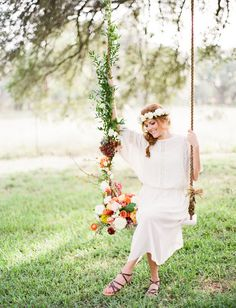 Flower Covered Swing for our whimsical #bride! --- THANK YOU to the fabulous team behind the shoot: @The Confetti Committee | @Loft Photographie | Joy Roy Vintage | @Gypsy Floral and Events | FEATURED on @Green Wedding Shoes / Jen Campbell: http://greenweddingshoes.com/an-autumn-sunset-bridal-soiree/