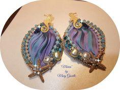 "Earrings shibori silk ribbon ""Marea"" Beautiful Jewels of Bijoux Etsy pinned from mary gioielli"
