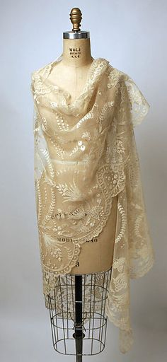 Shawl Date: 19th century Culture: Philippine Medium: piña cloth, cotton Dimensions: Length: 144 in. (365.8 cm) Width: 50 in. (127 cm) Credit Line: Gift of Mrs. Mary Sloan Hess, wife of Col. L.T. Hess, 1937 Accession Number: 37.109.6