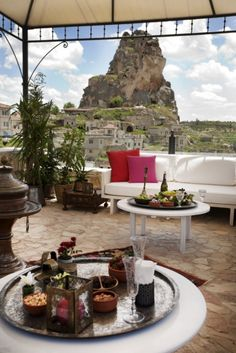 Terrace overlooking the fairy chimneys in Central/Eastern Turkey