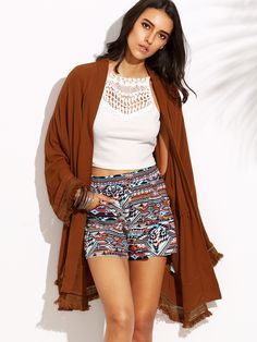 Online shopping for Brown Tassel Hem Drawstring Long Sleeve Outerwear from a great selection of women's fashion clothing & more at MakeMeChic. Long Brown Coat, Langer Mantel, Boho Fashion, Womens Fashion, Fashion Ideas, Style Wish, Boho Shorts, Tassel, Long Sleeve