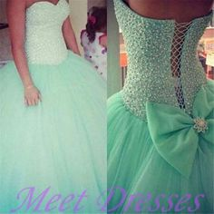 Cheap quinceanera dresses 2015 princess ball gown fitted mint green puffy tulle sixteen birthday prom dress  - Thumbnail 2