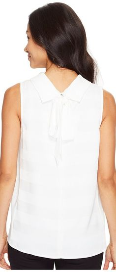 Vince Camuto Sleeveless Mock Neck Shadow Stripe Blouse (New Ivory) Women's Blouse - Vince Camuto, Sleeveless Mock Neck Shadow Stripe Blouse, 9127080-103, Apparel Top Blouse, Blouse, Top, Apparel, Clothes Clothing, Gift, - Street Fashion And Style Ideas