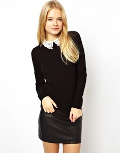 Image 1 of ASOS Sweater With Pretty Lace Collar
