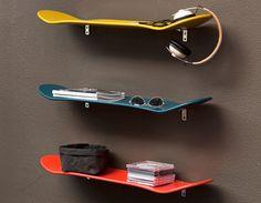 skateboard shelves for the skateboarder's room